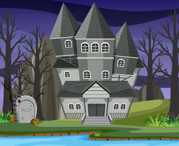 Scena con casa stregata di halloween