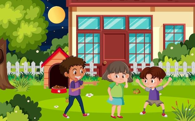 Scena con bambini che bullizzano un amico nel parco