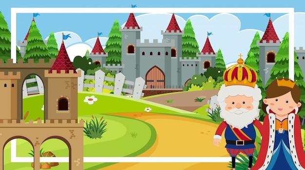Scena con re e regina dalle torri del castello
