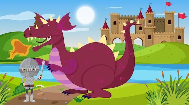 Scena con cavaliere e drago in terra da favola