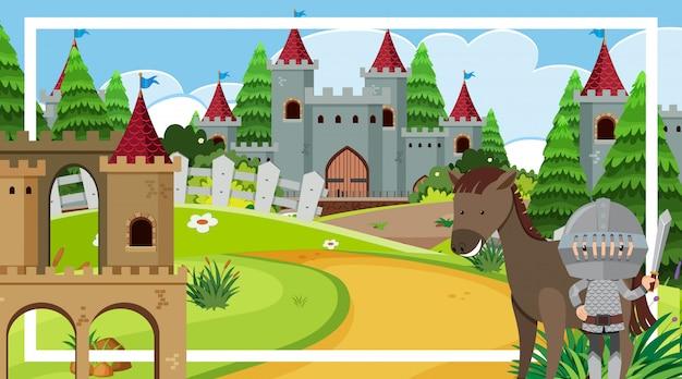 Scena con cavaliere e cavallo presso la torre del castello