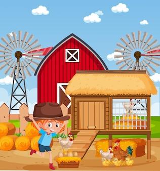 Scena con bambina e polli in fattoria