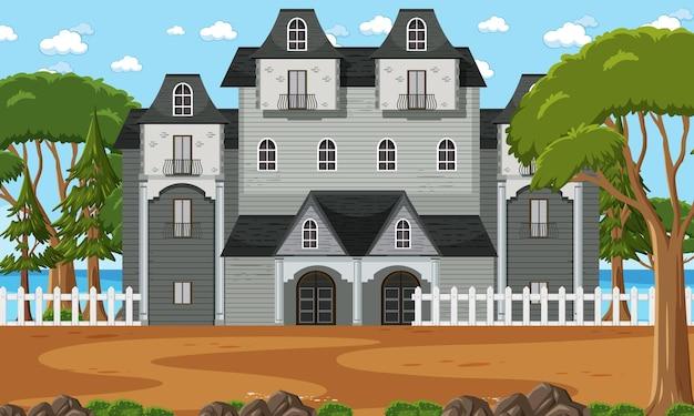 Scena con molti edifici coloniali di giorno