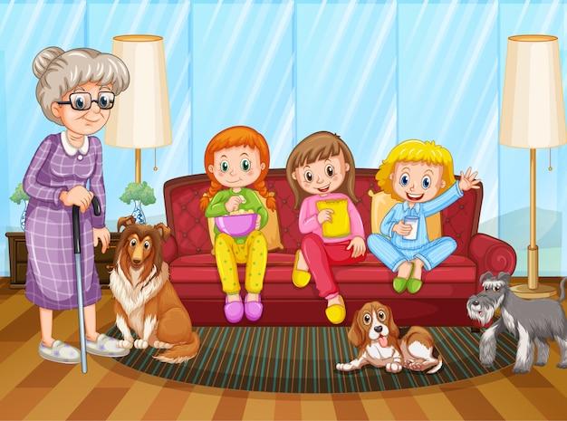 Scena con persone che stanno a casa con la famiglia