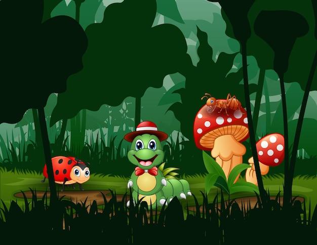 Scena con piante e insetti nell'illustrazione del giardino