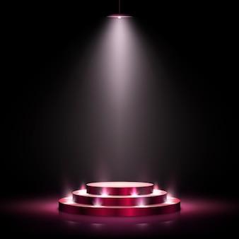 Scena con podio per la cerimonia di premiazione su sfondo scuro