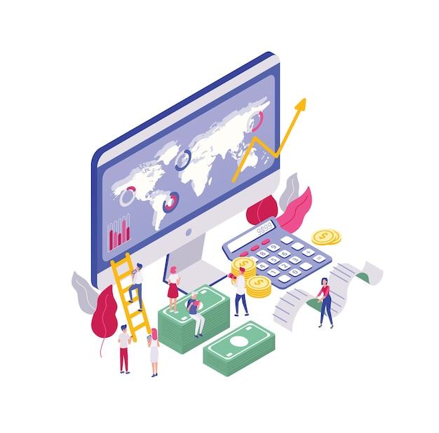 Scena con minuscole persone che camminano vicino al display del computer con analisi finanziaria, seduti su banconote di denaro, portando ricevuta. concetto di analisi aziendale.