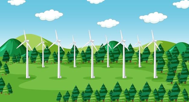 Scena con turbine nella foresta