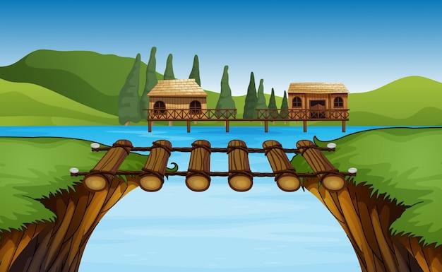 Scena con due capanne sul lago