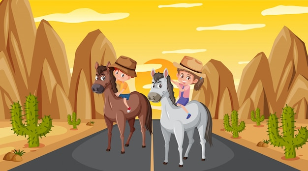Scena con due bambini a cavallo sulla strada