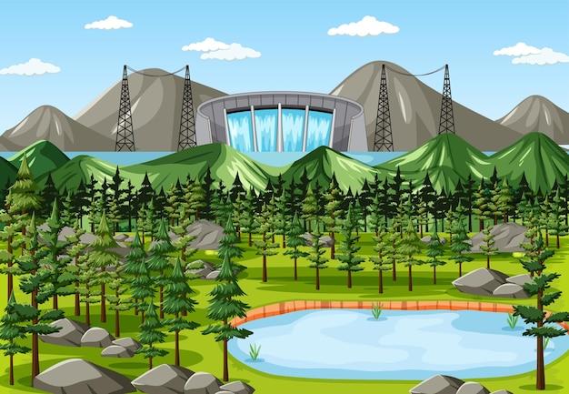 Scena con diga d'acqua e foresta