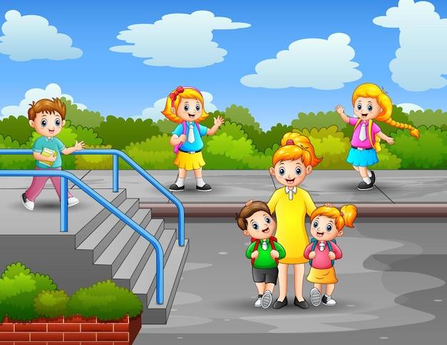 Scena con una donna insegnante e studenti nell'illustrazione del parco