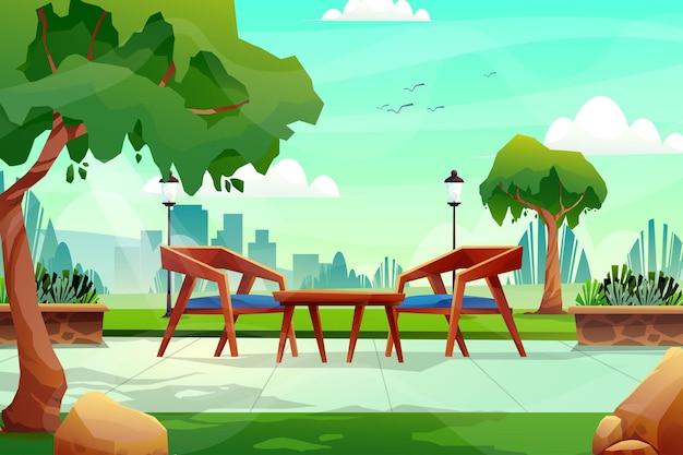 Scena di sedia e tavolo in legno nel parco naturale
