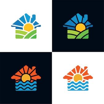 Modello di logo della casa di paesaggio