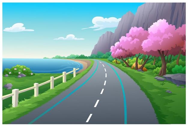 Scenario di montagne e alberi il mare durante il giorno.