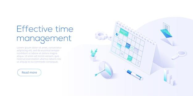 Pianifica il calendario o l'ufficio planner in design isometrico