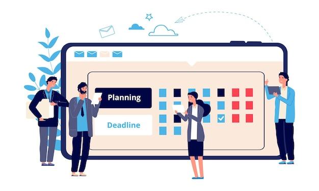 Concetto di pianificazione. imprenditorialità aziendale, pianificazione del lavoro online. gli imprenditori piatti pianificano il loro lavoro. caratteri aziendali vettoriali e calendario online. pianificatore di lavoro di illustrazione, calendario dell'agenda