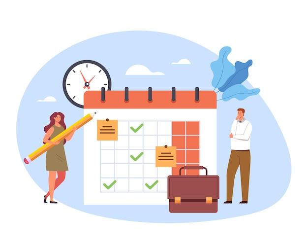 Pianificare il calendario dell'organizzatore pianificazione promemoria agenda calendario concetto piatto fumetto.