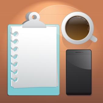Foglio del piano, una tazza di caffè e cellulare. vista dall'alto