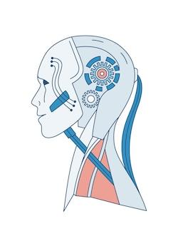 Ritratto schematico di robot o androide isolato su bianco