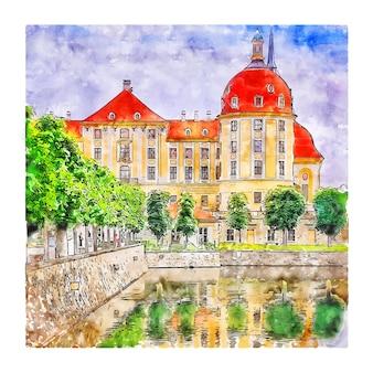 Illustrazione disegnata a mano di schizzo dell'acquerello della germania di schloss moritzburg