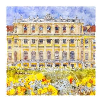 Schloss schonbrunn vienna illustrazione disegnata a mano di schizzo ad acquerello