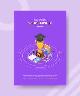 Modello di poster di concetto di borsa di studio con illustrazione vettoriale stile isometrico
