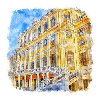 Illustrazione disegnata a mano di schonbrunn palace vienna austria schizzo dell'acquerello