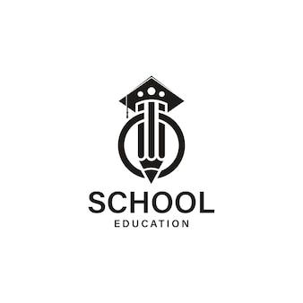 Disegno del logo della matita dell'accademia della scuola
