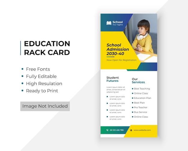 Modello premium di biglietto d'ingresso per l'ammissione alla scuola dl flyer