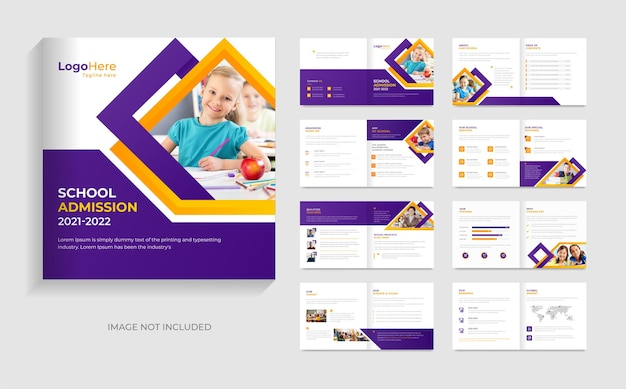 Modello di brochure per l'istruzione di ammissione alla scuola design forme creative layout vettore premium