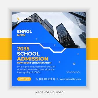 Modello di post sui social media e banner web per l'istruzione di ammissione alla scuola