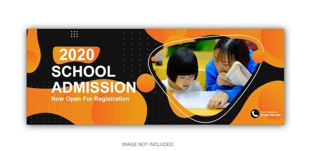Modello di post sui social media per la copertina di facebook di ammissione alla scuola
