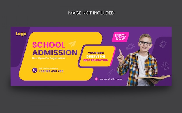 Modello di post sui social media per la copertina di ammissione alla scuola