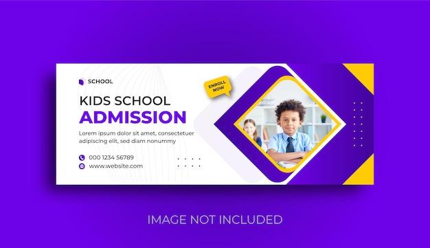 Modello di post sui social media per banner web e copertina di facebook per l'ammissione alla scuola