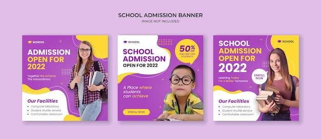Modello di post instagram di ammissione alla scuola