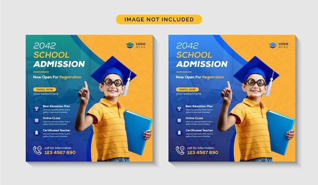 Ammissione alla scuola instagram social media post o ritorno al design del modello di banner web della scuola