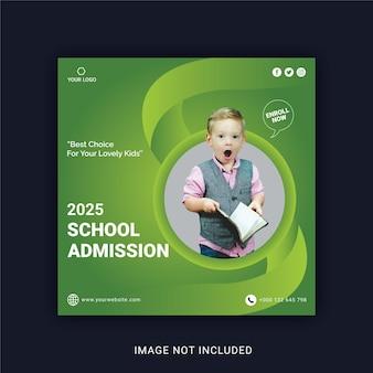 Modello di post banner per social media per l'ammissione alla scuola