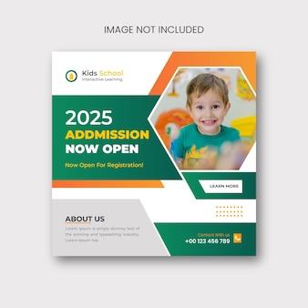 Post di social media di ammissione alla scuola e design di banner web