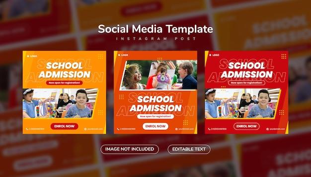 Post di social media di ammissione alla scuola e modello di instagram banner web con colore arancione e rosso