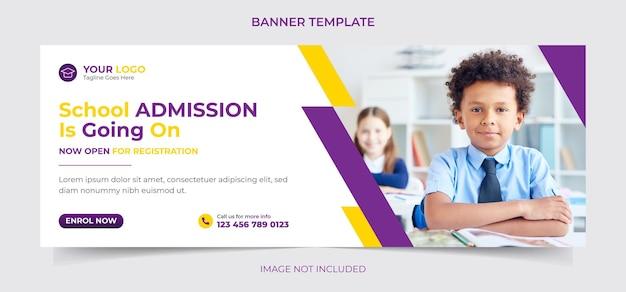 Banner web di social media per l'ammissione alla scuola e copertina di facebook o modello di post di instagram vettore di design