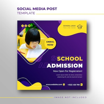 Banner quadrato di ammissione alla scuola per modello di post sui social media