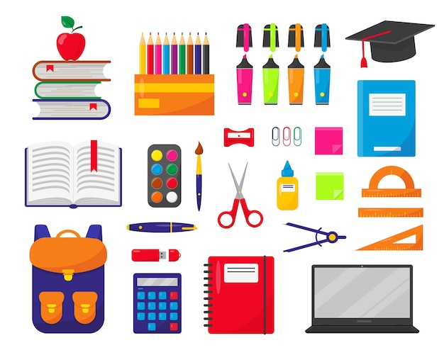 Zaino scuola laptop e forniture impostati su sfondo bianco elementi per il concetto di backtoschool