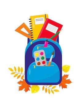 Zaino scolastico con materiale di consumo per il ritorno a scuola concetto di autunno educazione o attrezzatura per ufficio