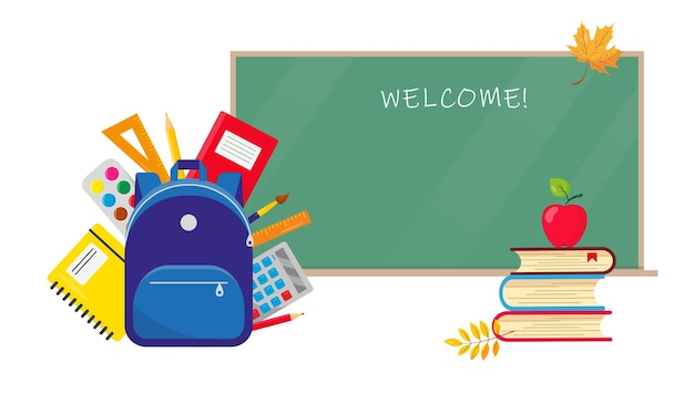 Zaino scuola con materiale di consumo e libri e lavagna scolastica