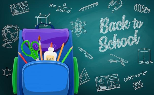 Borsa di scuola sulla lavagna di nuovo al fondo della scuola