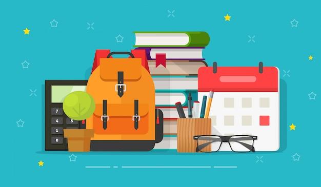 Borsa da scuola e oggetti educativi sulla scrivania o idea o tempo di studio o apprendimento