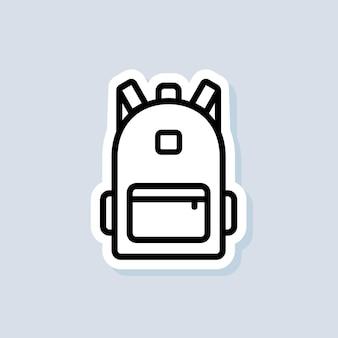 Adesivo borsa scuola. zaino, icona della linea di borsa. di nuovo a scuola. vettore su sfondo isolato. env 10.