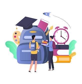 Borsa da scuola con forniture, studenti ragazzo e ragazza, pila di libri, illustrazione vettoriale piatta. scuola e istruzione.