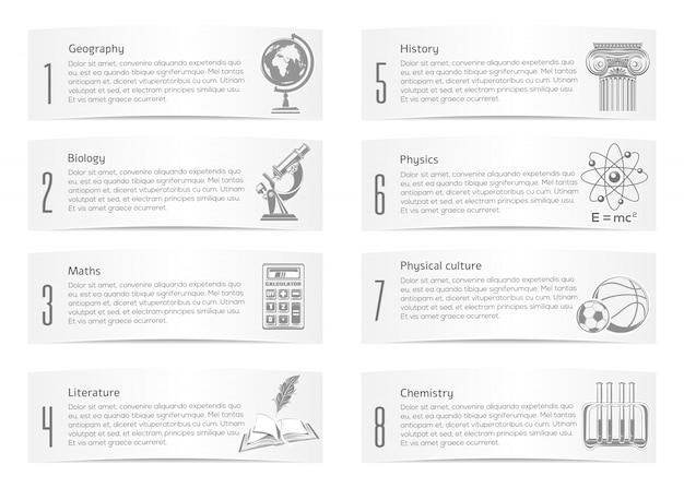 Set di banner scolastici. raccolta di icone di simboli raffiguranti varie scienze. illustrazione